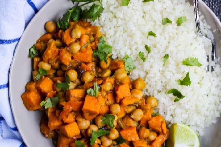 "Vegan Sweet Potato and Chickpea Curry Over Cauliflower ""Rice"""