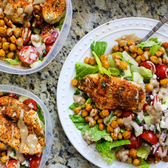 Greek Chicken and Chickpea Chopped Salad