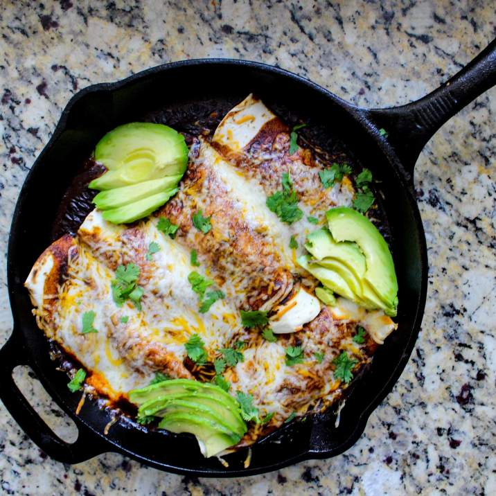 One Skillet Chicken Enchiladas for Two