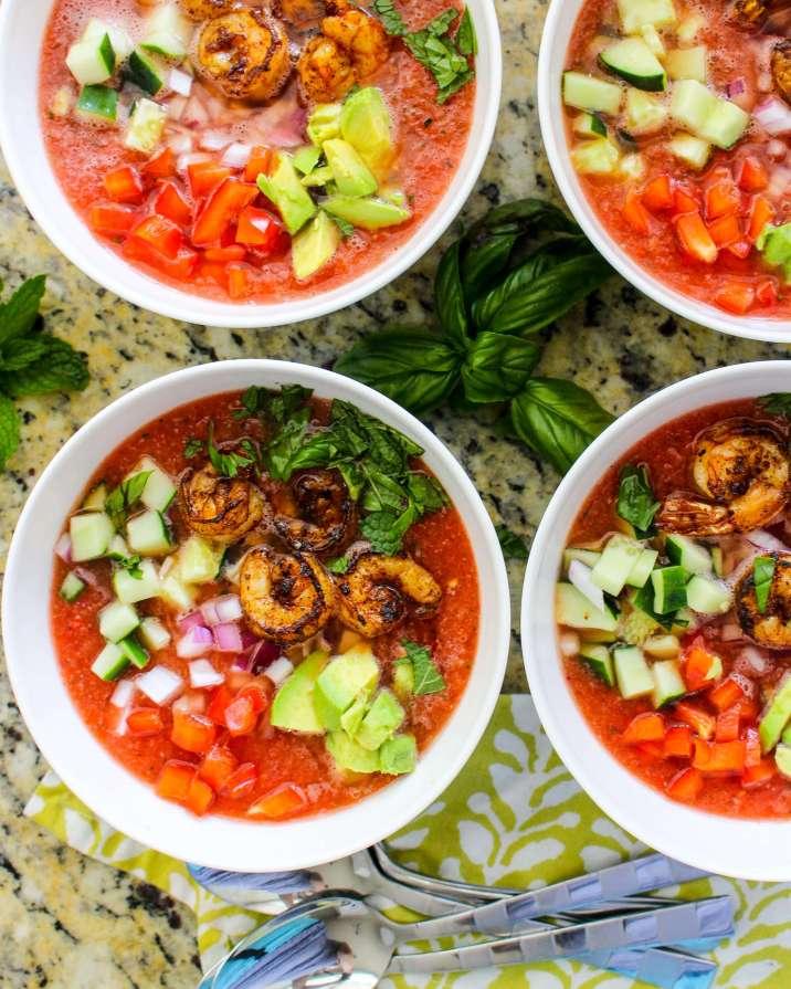 Watermelon Gazpacho with Spicy Shrimp