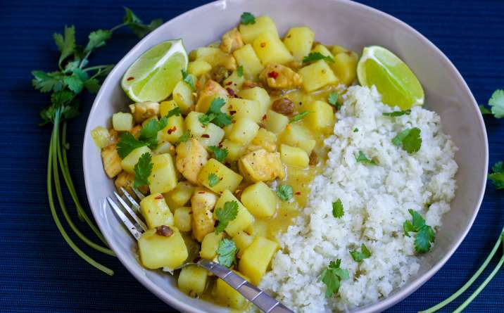 Chicken Potato Curry Bowls with Cauliflower Rice