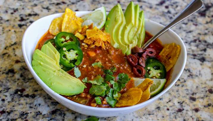 Loaded Whole30 Poblano Lime Taco Soup