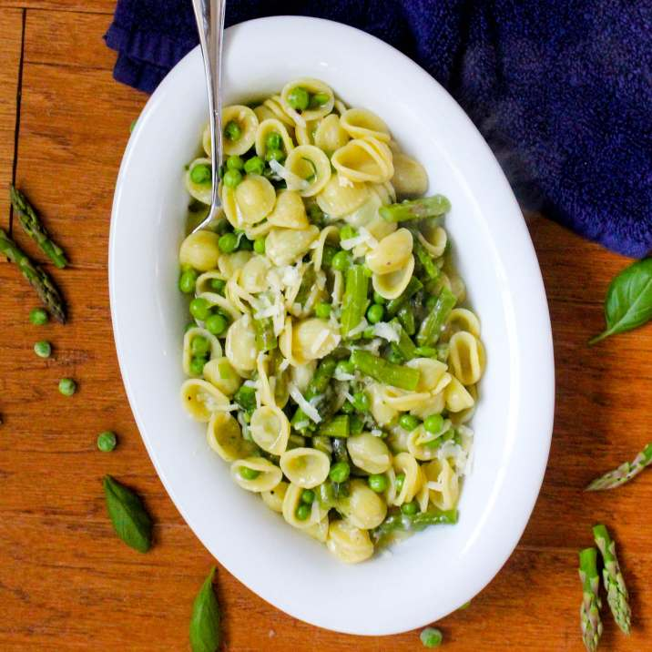 Cheesy Orecchiette Pasta with Peas and Asparagus