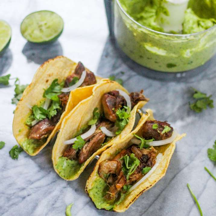 Crispy Slow Cooker Carnitas with Avocado Crema