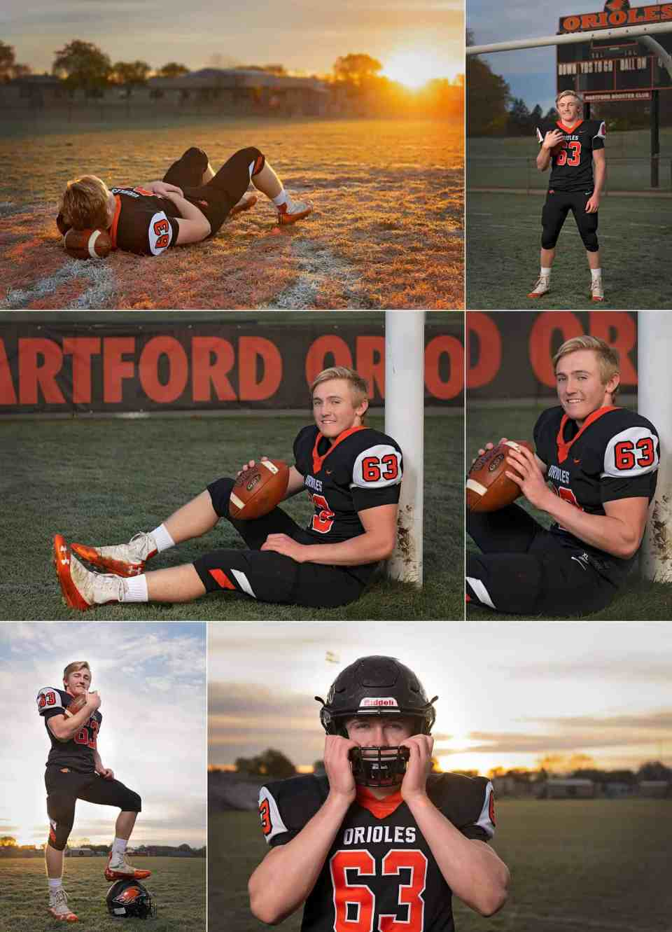 Athletic Senior Pictures in at Football Field in Hartford WI