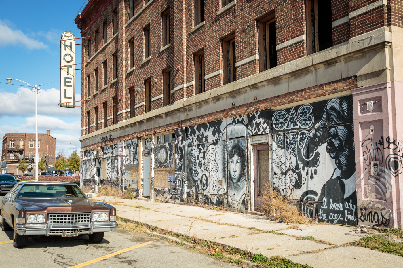 Hotel with graffiti in Detroit