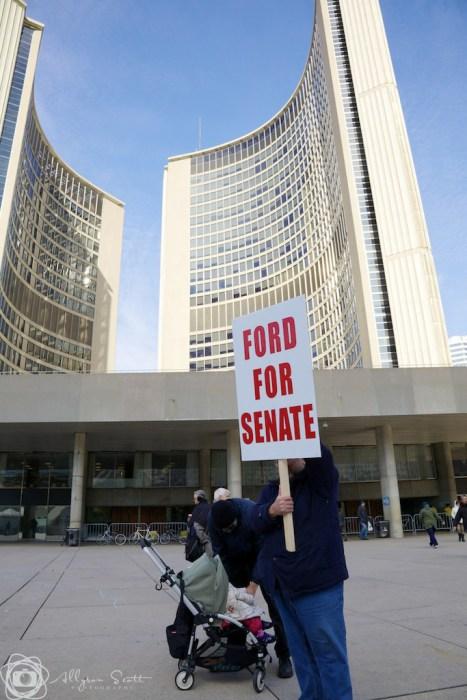Protester at Toronto City Hall