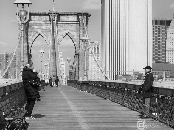 Tourists on Brooklyn Bridge, New York