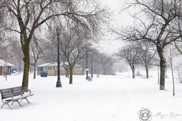 Sir Casimir Gzowski Park and Lake Ontario during snowstorm, Toronto, Ontario