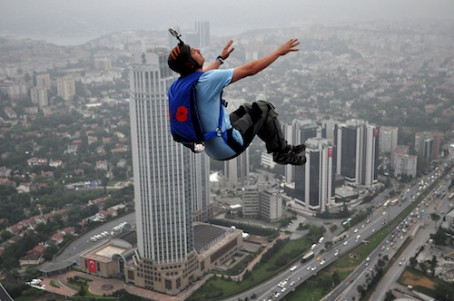 Alastair Macartney performs a back loop exit from the Istanbul Sapphire building during the Pro BASE World Cup.  A seemingly high risk activity, the risks have been mitigated and reduced to an acceptable level.  Photo by Kontizas Dimitrios - KontizasDimitrios@gmail.com