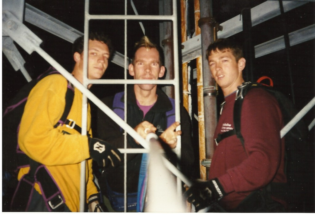 Half way up on the climb to do my first BASE jump (but we had to climb back down due to winds) with Mario Richard (middle), Alastair Macartney (left) and Tomo (right) in 1998.