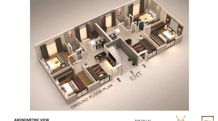 3d Floor Plan of 5 Marla Apartment Villa