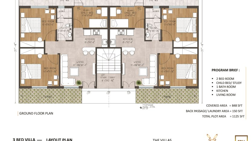 Floor Plan of 5 Marla Villa Apartment