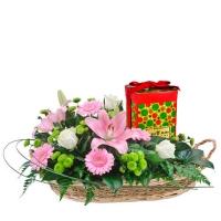 Arreglos florales con chocolates
