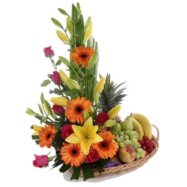 Canasta frutal curazao. Floristería Alma floral Bogotá