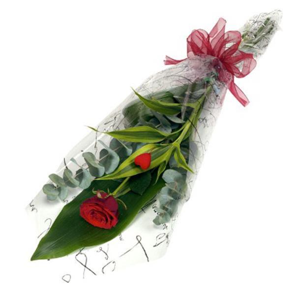 bouquet solitario rosa