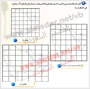 أنقل خارطة شبه جزيرة العرب السياسية بطريق المربعات ، مصغرة في الشكل أ ومكبرة في الشكل ب