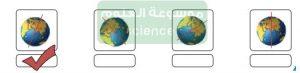أحدد الشكل الصحيح لمحور الأرض من بين الأشكال التالية بوضع علامة√