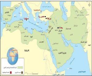 أحدد على الخارطة موقع كل من بغداد هرقلة عمورية صقلية