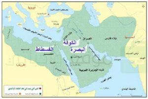 يحدد الطلبة على الخريطة الآتية أسماء المدن التي أنشأها المسلمون في عهد الخلفاء الراشدين رضوان الله عليهم