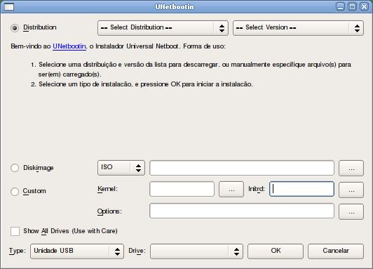 Usando o Unetbootin para criar um Pendrive inicializável. (3/6)