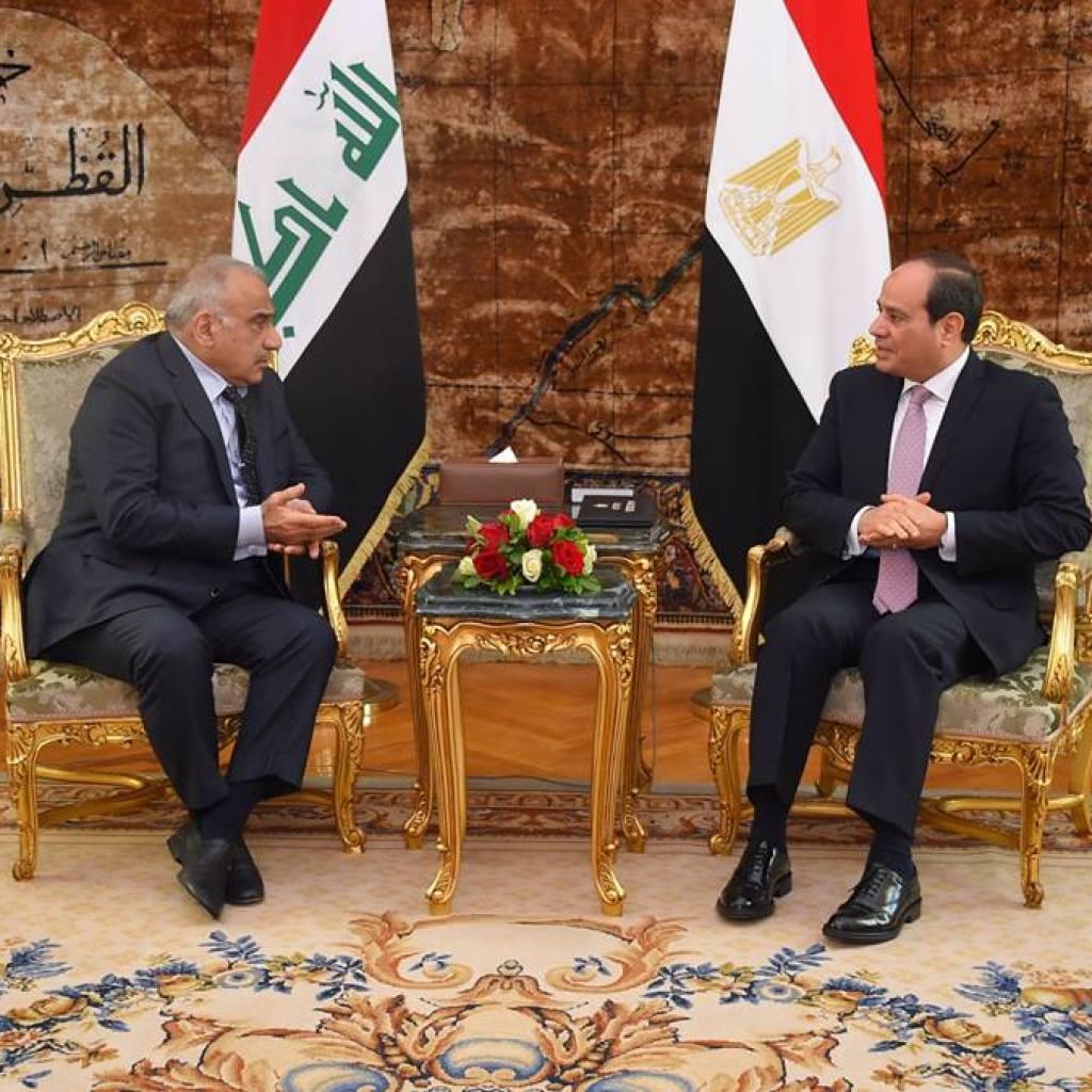 جلسة مباحثات بين الرئيس المصري عبد الفتاح السيسي ورئيس الوزراء العراقي عادل عبد المهدي