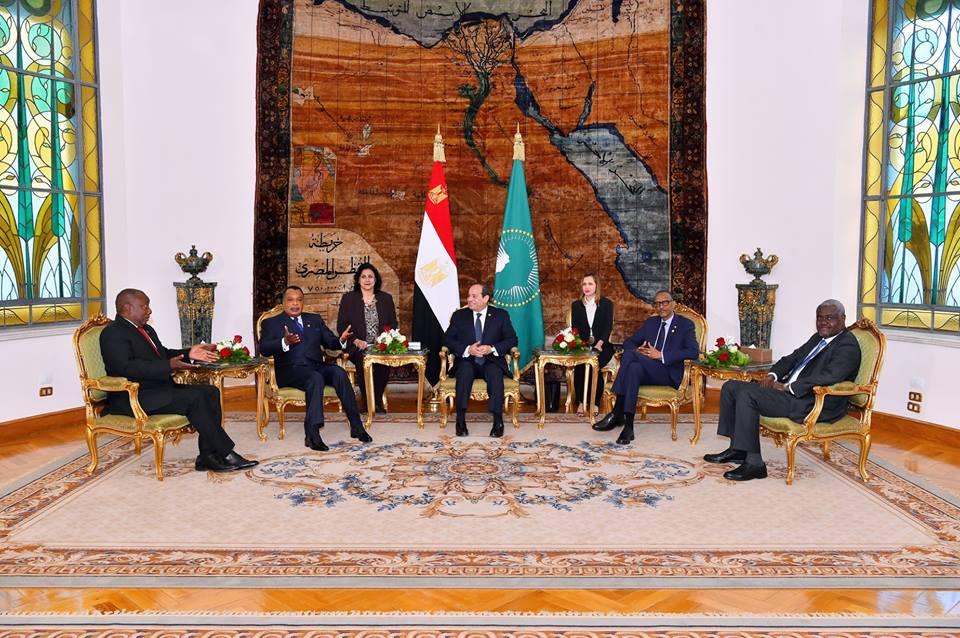 الرئيس السيسي وقادة قمة الاتحاد الإفريقي بشأن ليبيا