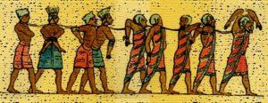 gravura de filisteus prisioneiros de Ramsés III