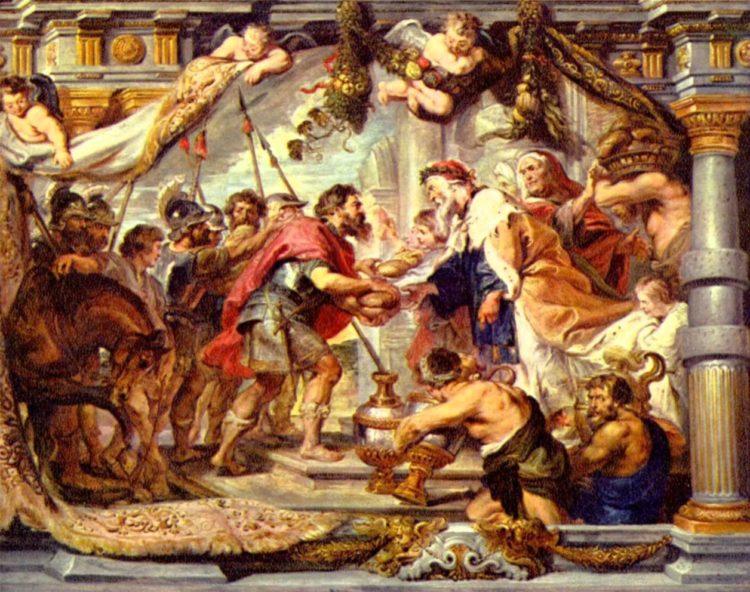 """""""O encontro entre Abrão e Melquisedeque"""", por Peter Paul Rubens, 162"""