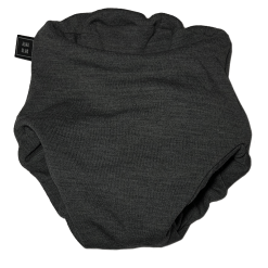 A dark grey cloth nappy viewed from the front