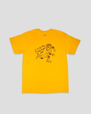 Gelbes T-Shirt mit schwarzem Print