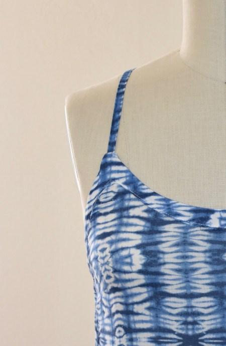 Shibori Print Column Dress Close up