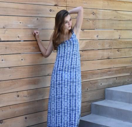 Shibori Print Maxi Dress
