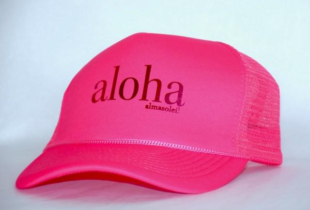 ALOHA Metallic Pink on Neon Pink hat