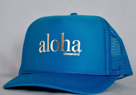ALOHA Rose Gold on Turquoise hat
