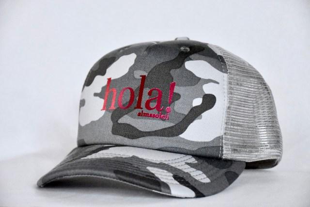 HOLA! Pink Metallic on Gray Camo hat