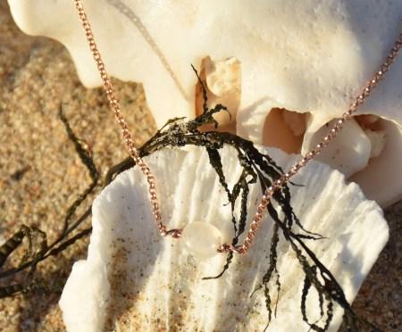 Moonstone Choker on Rose Gold Chain