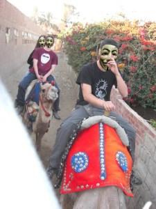 Gite cammellate a Giza. I volti dei miei compagni di gobba sono stati cancellati per motivi di privacy, il mio per motivi di decenza.