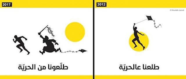 Siria rivoluzione e media vignetta