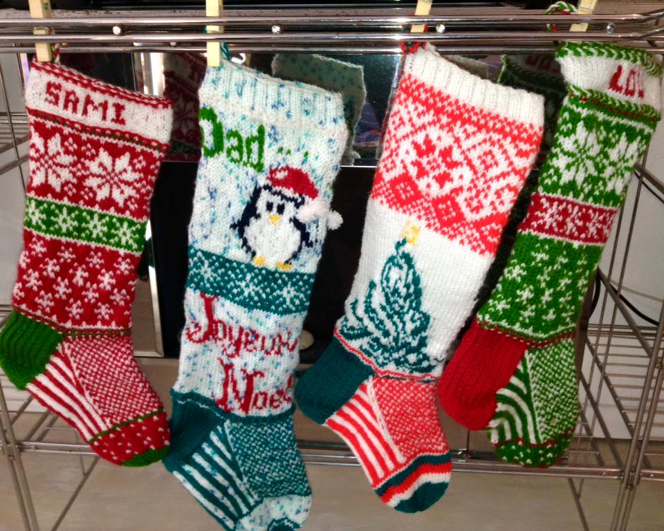 Family stockings knit for 2015