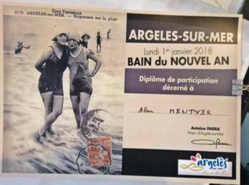 Bain du Nouvel An certificate