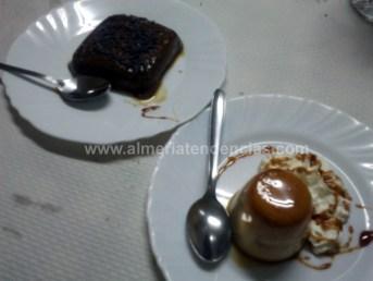 flan de turrón y tarta de chocolate en Sierra Alhamilla