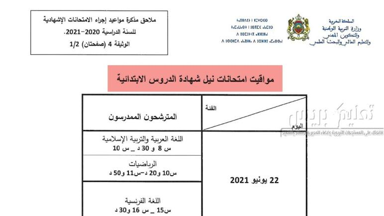 تواريخ ومواقيت الامتحان الاقليمي الموحد السادس ابتدائي 2021