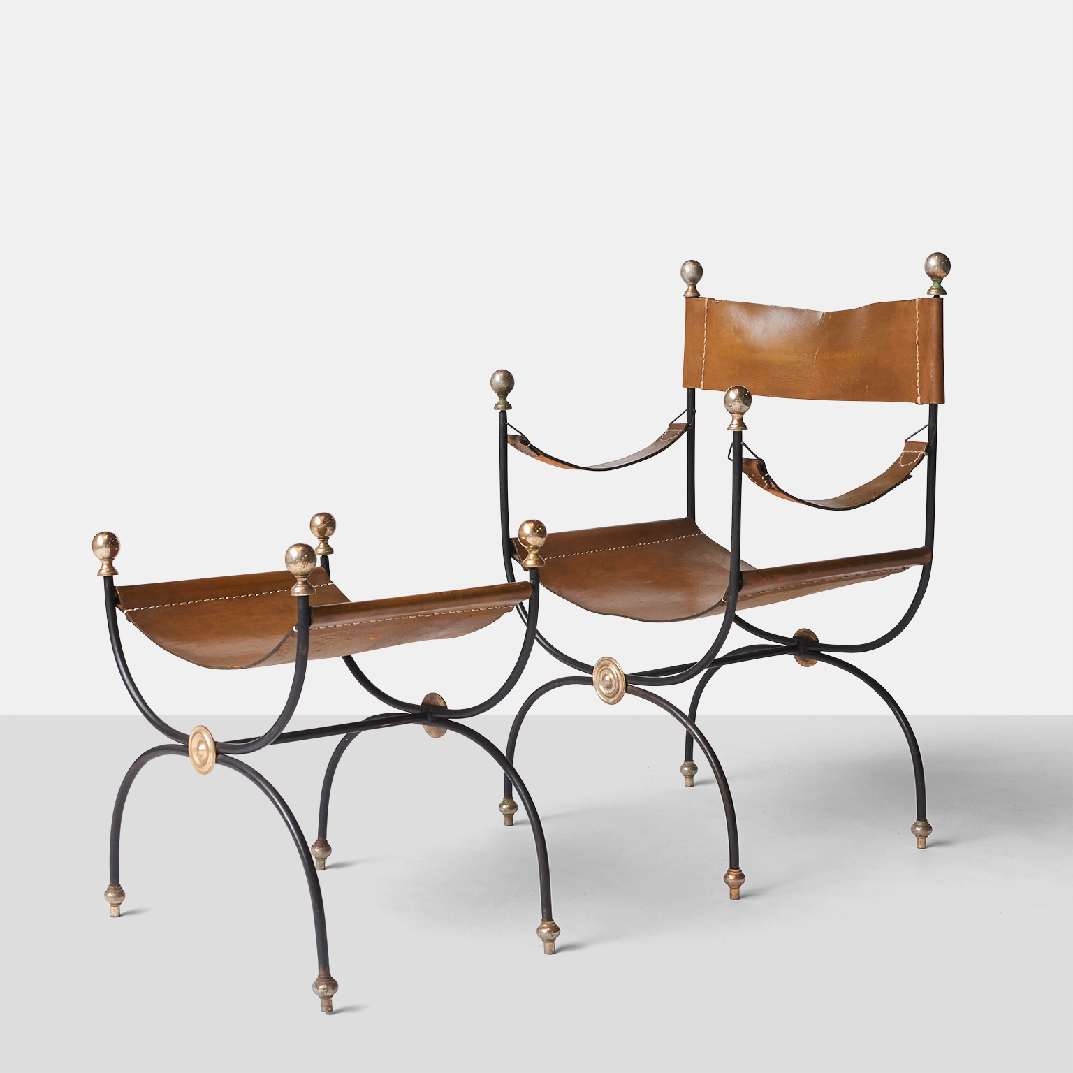 Leather Chair And Ottoman Jacques Adnet Iron And Leather Chair And Ottoman Almond And Company