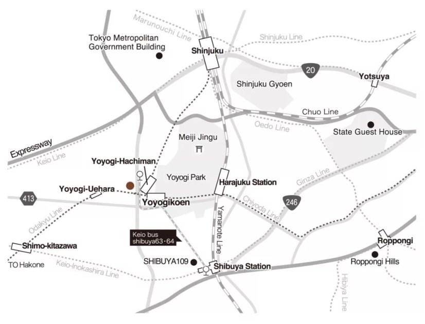 渋谷の地図とアーモンドホステルの位置 Location of Shibuya and Almond Hostel