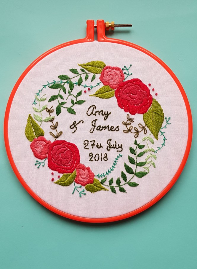 Almond rock wedding anniversary hoop namaste embroidery floss delicate roses