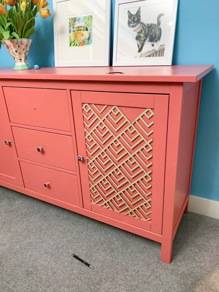 Almond rock diy carved wood sideboard coral flair painted valspar dulux
