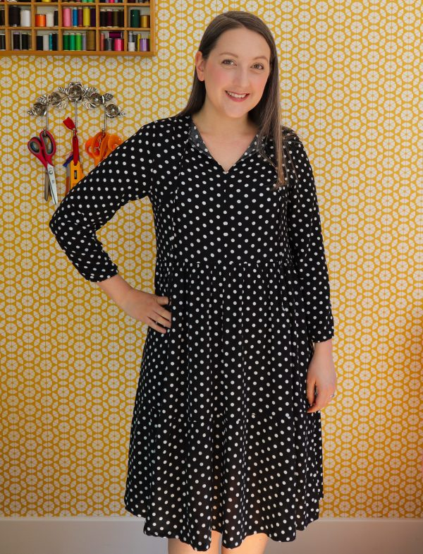 Almond rock dressmaking Nina Lee Patterns Spring Dress polka dot viscose