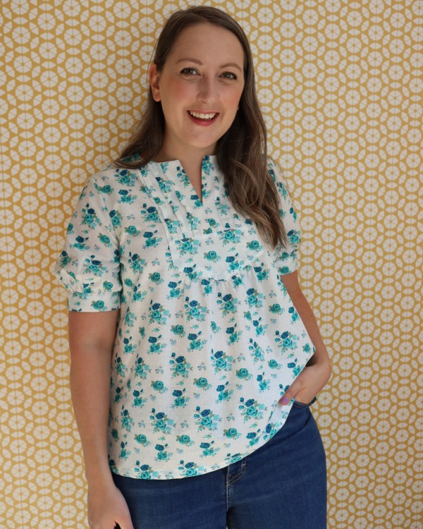Almond Rock makes McCall's 4916 vintage blouse pattern from 1970s in floral cotton