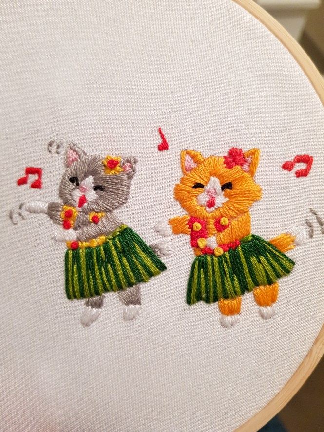 Almond rock embroidery cat lady floss boss dmc threads kittens